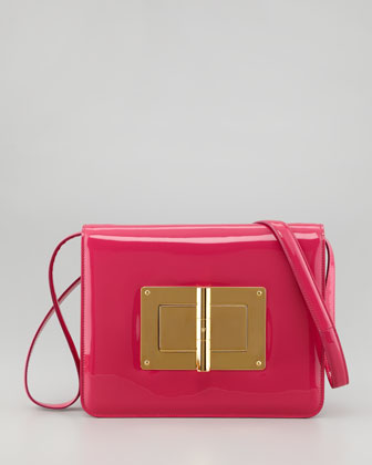 Natalia Large Turn-Lock Shoulder Bag, Hot Pink
