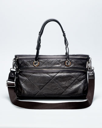 Amalia Double-Wear Satchel Bag, Black