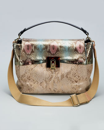 For Me Snake-Embossed Medium Bag, Pink