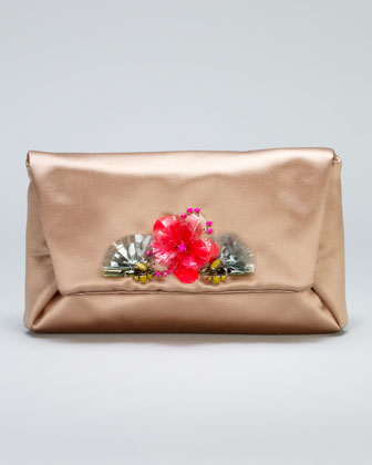 Mai Tai Flower-Front Satin Clutch Bag, Honey