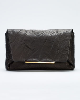 Mai Tai Crinkled Lambskin Clutch Bag, Black