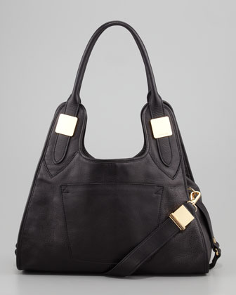 Lucas Small Leather Hobo Bag, Black