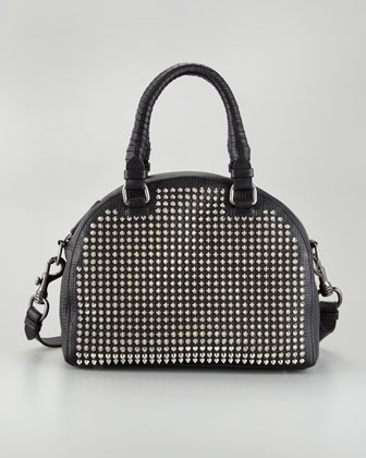 Panettone Small Studded Satchel Bag, Black