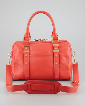Lee Medium Leather Satchel Bag, Salmon