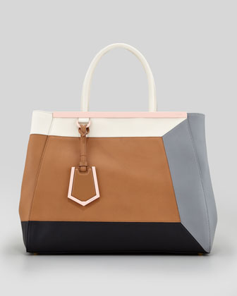 2Jours 3D Vitello Colorblock Medium Tote Bag