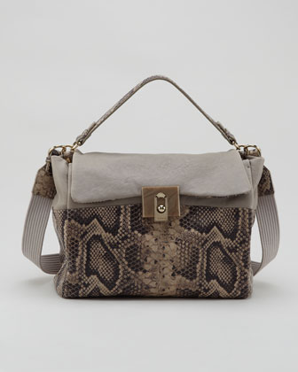 For Me Snake-Embossed Medium Bag, Gray