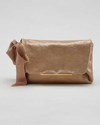 Mai Tai Lambskin Clutch Bag, Gold