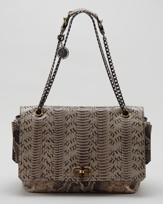 Happy Large Snakeskin Shoulder Bag, Beige