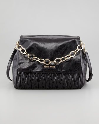 Matelasse Lux Chain Shoulder Bag, Black
