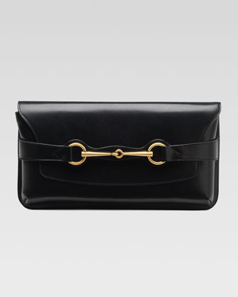 Bright Bit Leather Clutch Bag, Black