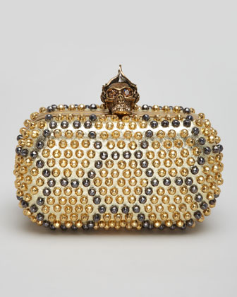 Bee Punk Skull Studded Clutch Bag, Gold