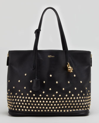 Studded Padlock Medium Shopper Bag, Black