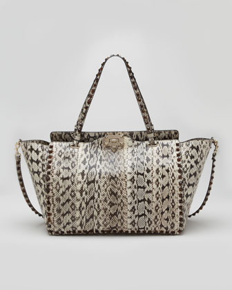 Rockstud Medium Snakeskin Tote Bag, Ivory