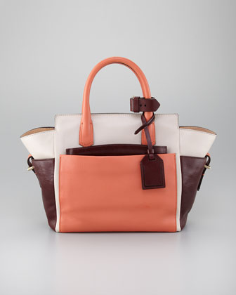 Atlantique Mini Tote Bag, Coral/Cream/Brown