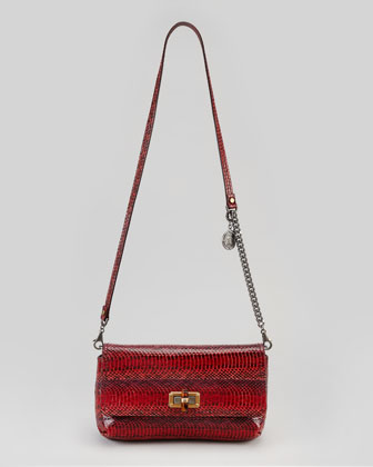 Happy Poppy Snake Pouchette Bag, Red