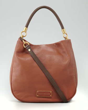 Too Hot to Handle Two-Tone Hobo Bag, Brown