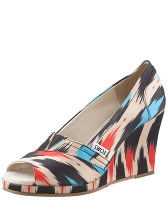 Ikat-Print Peep-Toe Wedge