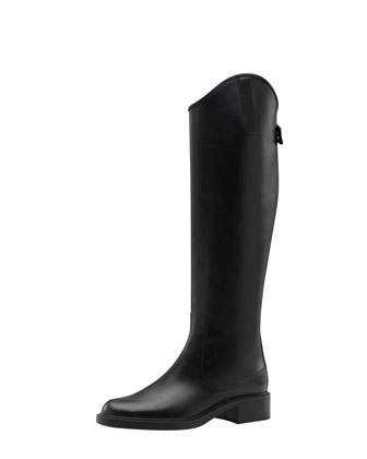 Zip-Back Leather Riding Boot
