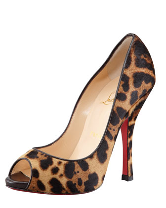 Maryl Leopard-Print Calf Hair Peep-Toe Red Sole Pump