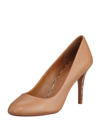Mabel Watersnake-Heel Leather Pump, Royal Tan