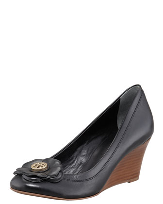 Shelby Floral Logo Wedge, Black