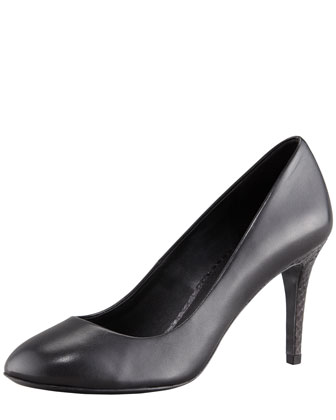 Mabel Watersnake-Heel Leather Pump, Black