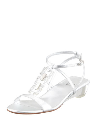 Metallic Low-Wedge Sandal, Silver