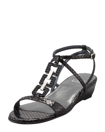 Patent Leather Low-Wedge Sandal, Black