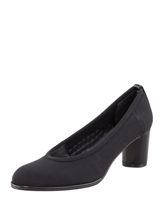 Gauzelle Stretch Mid-Heel Pump, Black