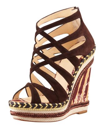 Tosca Crisscross Wedge Sandal, Chocolate