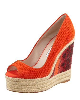 Cailey Suede Espadrille Snake-Wedge Pump