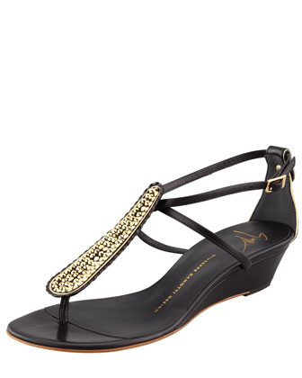 Strass T-Strap Wedge Sandal, Black