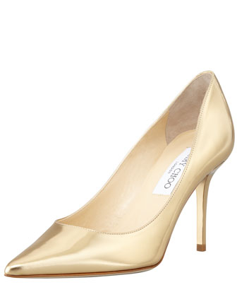 Agnes Mirror Leather Pointed Toe Pump, Pure Gold