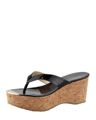 Pathos Patent Leather Cork Thong Sandal, Black
