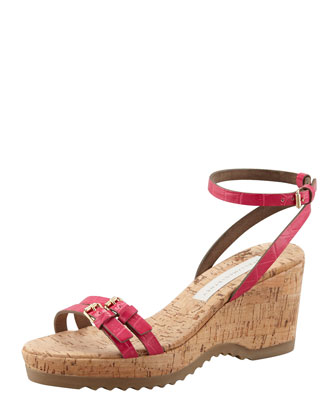 Faux-Crocodile Cork Ankle-Wrap Wedge, Pink