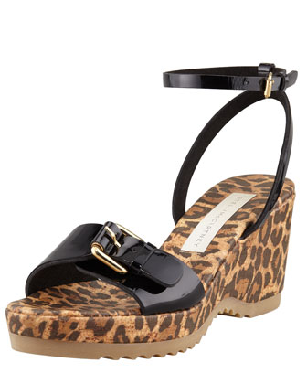 Animal-Print Cork Ankle-Wrap Wedge