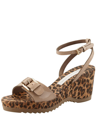 Animal-Print Cork Ankle-Wrap Wedge, Dessert
