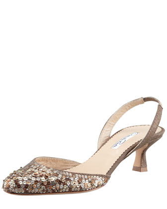 Rita Sequin Halter Pump, Bronze