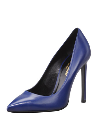 Pointed-Toe Calfskin Pump, Blue