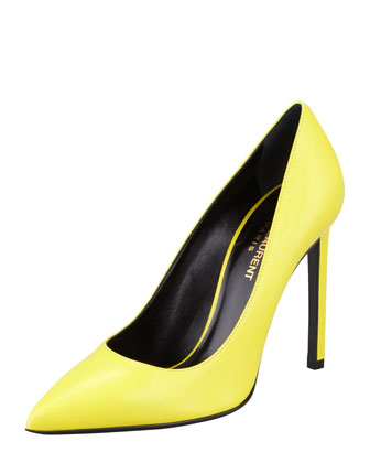 Pointed-Toe Calfskin Pump, Citron
