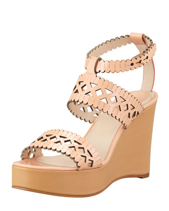 Pierced Wedge Sandal, Coral