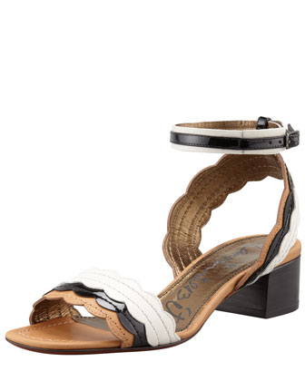 Chunky-Heel Scalloped Leather Sandal, Black/White