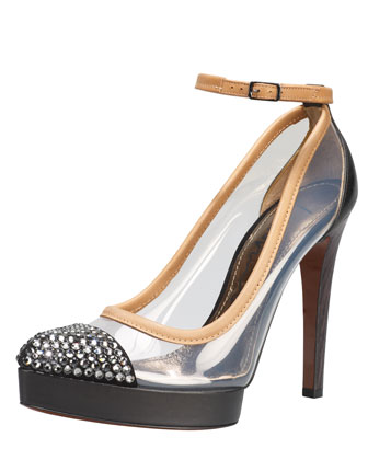 Crystal-Cap-Toe Clear Pump