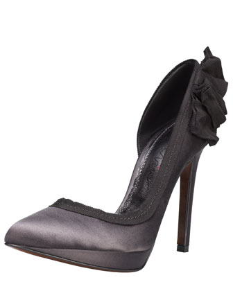 Grosgrain-Trimmed Satin d'Orsay Pump, Anthracite