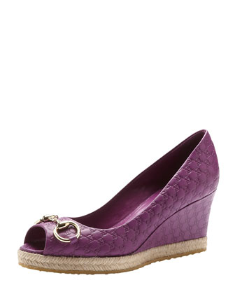 Guccissima Leather Wedge Pump