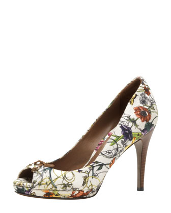 Floral Canvas Peep-Toe Pump