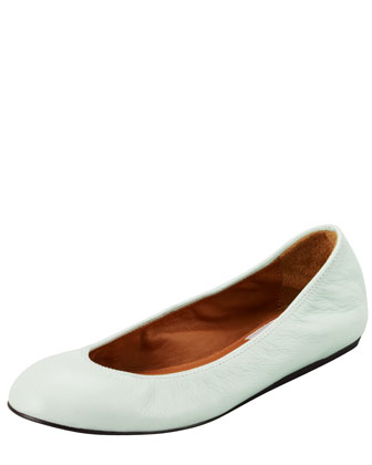 Goatskin Light Green Ballerina Flat, Blue
