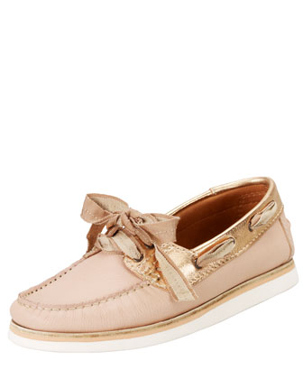 Metallic-Trimmed Boat Shoe, Rose