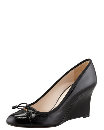Patent Saffiano Wedge Pump, Black