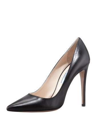 Capretto Leather Pointed-Toe Pump, Black